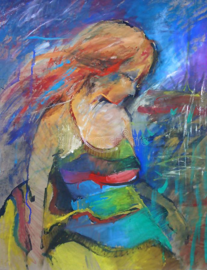 手拉的美丽的少妇画象 方式妇女 逗人喜爱的女花童 绘画 向量例证