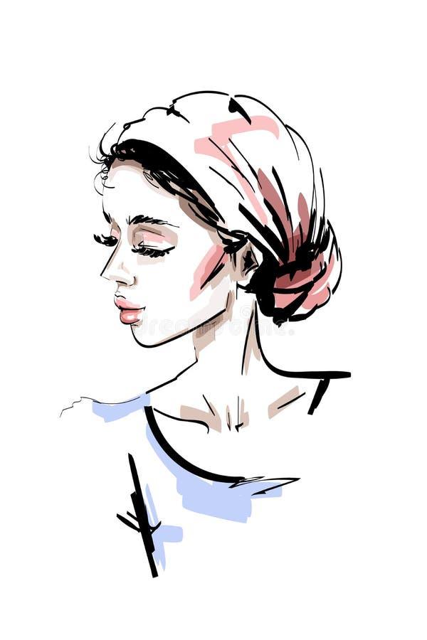 手拉的美丽的少妇 时髦的典雅的女孩 方式纵向妇女 库存例证