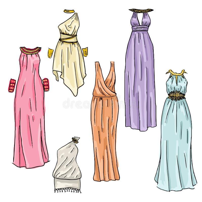 手拉的美丽的希腊人礼服 向量例证