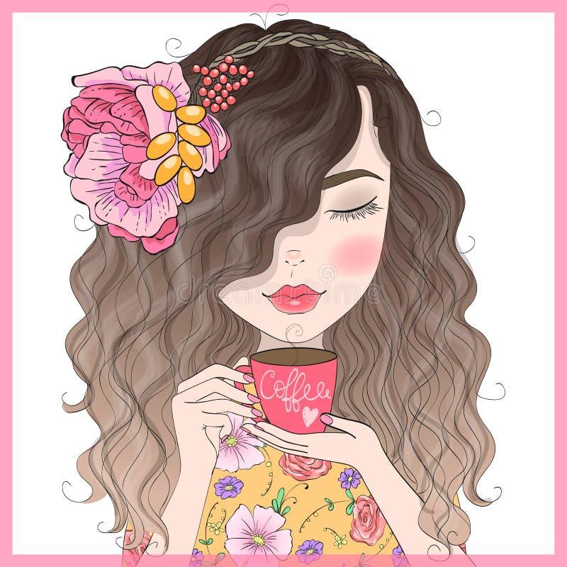手拉的美丽的逗人喜爱的红头发人卷曲女孩用咖啡在他的手上 皇族释放例证
