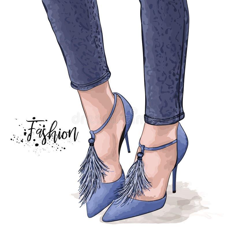 手拉的美好的女性腿 时髦的妇女蓝色鞋子和牛仔裤 剪影传染媒介例证 免版税库存图片