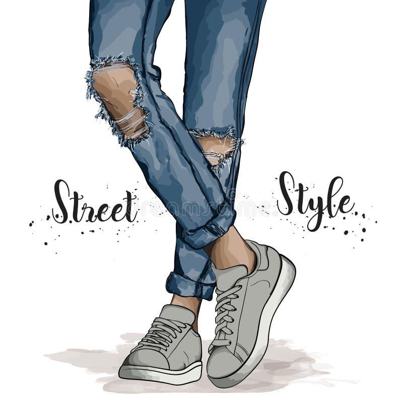 手拉的美好的女性腿 时髦青少年佩带的运动鞋和被剥去的牛仔裤 传染媒介例证时尚牛仔布样式 库存照片