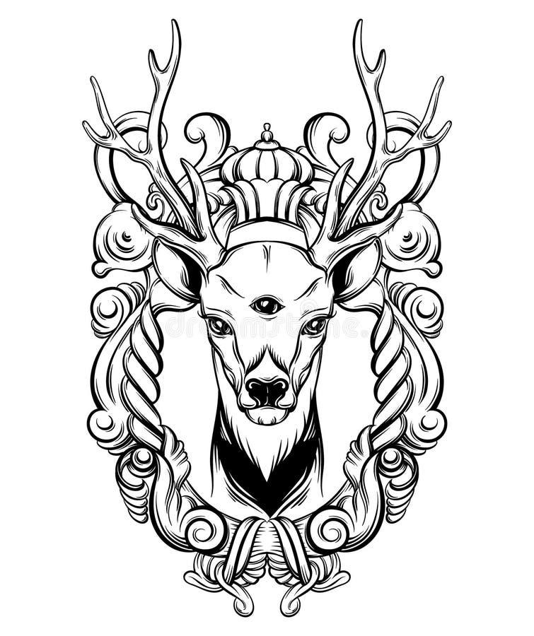 手拉的美好的手速写了与巴洛克式的花卉框架的鹿 皇族释放例证