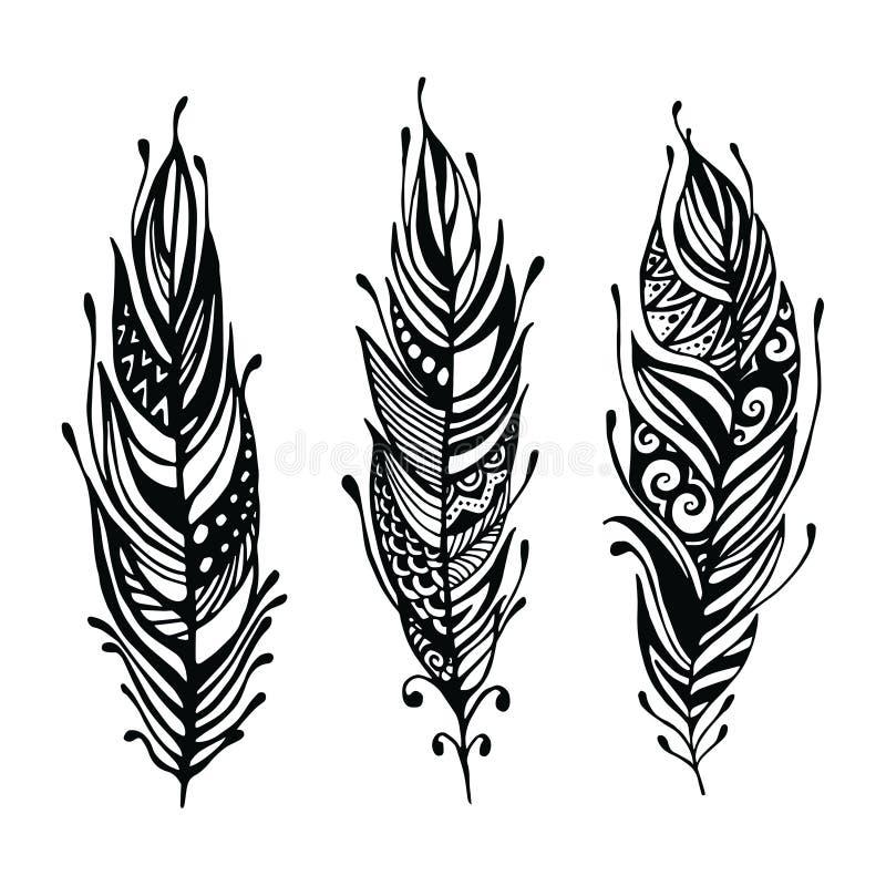 手拉的羽毛 墨水传染媒介例证 Boho样式设计元素 种族创造性的乱画 查出在白色 库存例证