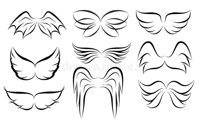 手拉的翼商标集合 传染媒介乱画飞过的象 套lo 库存例证