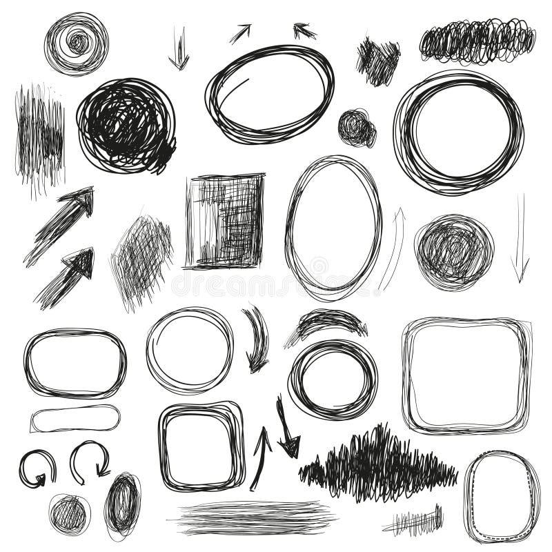 手拉的背景和元素集与纹理和arrrows r 库存照片