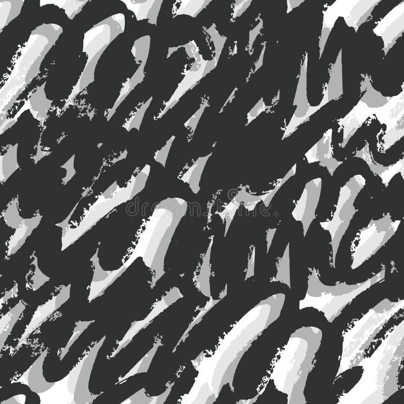 手拉的艺术性的刷子冲程无缝的样式 黑和银色墨水背景 库存例证