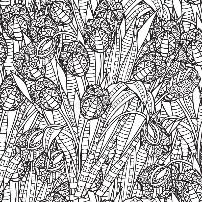 手拉的艺术性的种族装饰物被仿造的花卉框架 库存例证