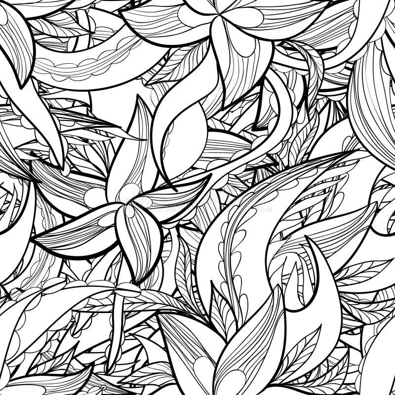手拉的花卉抽象无缝的样式,单色背景 皇族释放例证