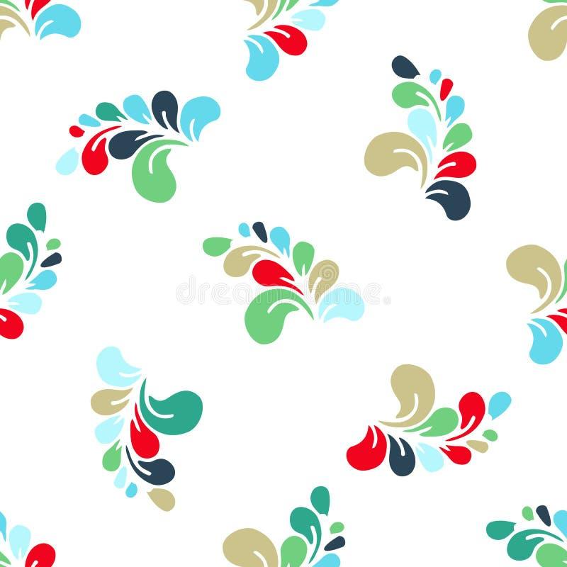 手拉的花卉样式由简单的乱画做成 动画片花 无缝的背景,坐垫的,枕头传染媒介样式, bandan 库存例证
