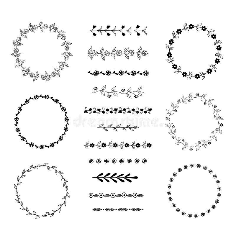 手拉的花卉框架和刷子 也corel凹道例证向量 皇族释放例证