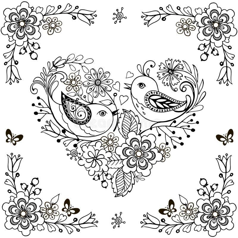 手拉的花和鸟反重音着色页的 传染媒介心脏由花和鸟做成 皇族释放例证