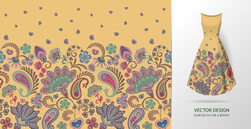 手拉的花无缝的样式 与花卉样式的五颜六色的无缝的样式在东部样式 传染媒介样式为 向量例证