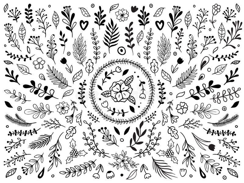 手拉的花装饰 装饰剪影华丽花 葡萄酒花饰被隔绝的传染媒介元素集 库存例证