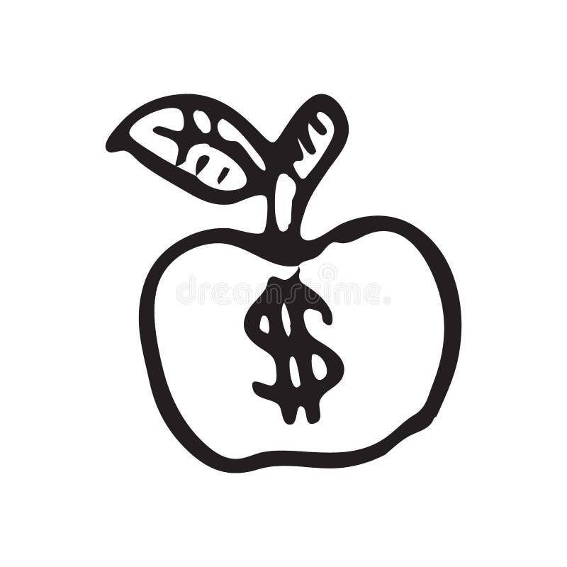 手拉的苹果乱画 剪影美元象 装饰元素 库存例证