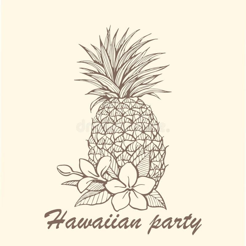 手拉的菠萝例证 免版税图库摄影