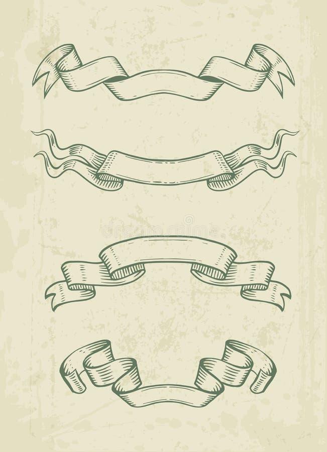 手拉的葡萄酒丝带设计元素 库存例证