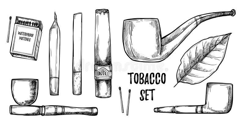 手拉的葡萄酒传染媒介例证-烟草汇集 des 库存例证