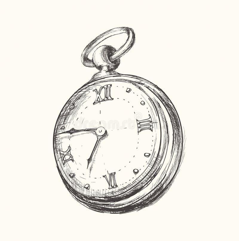 手拉的葡萄酒手表时钟剪影传染媒介例证 皇族释放例证