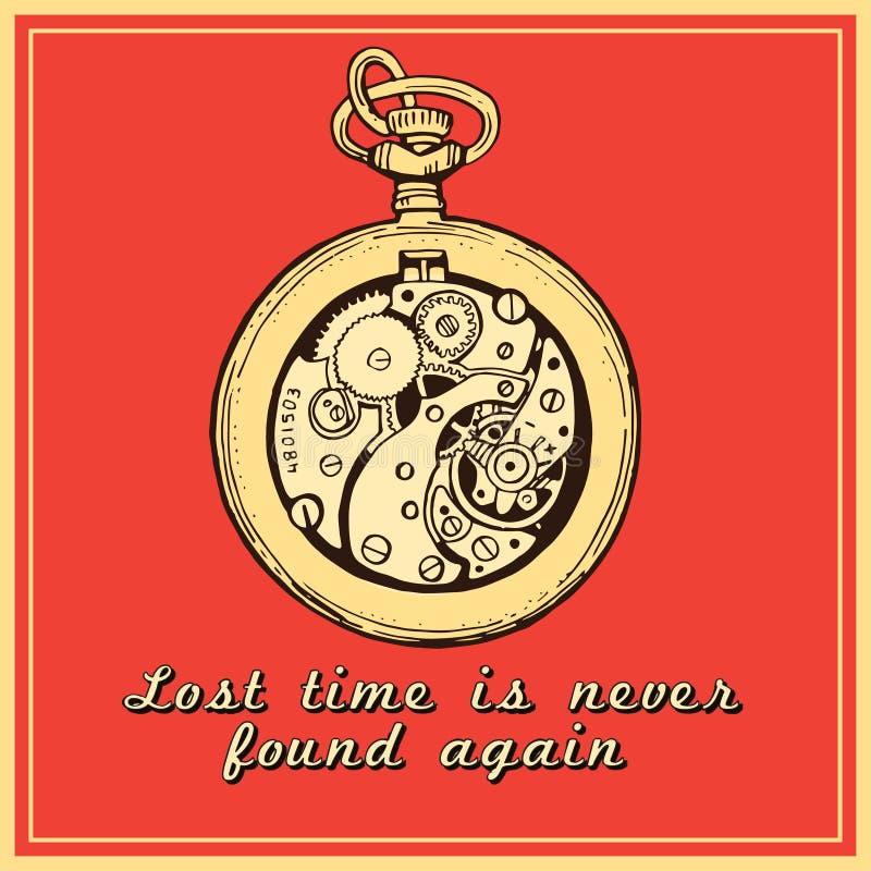手拉的葡萄酒手表时钟剪影传染媒介例证 库存例证