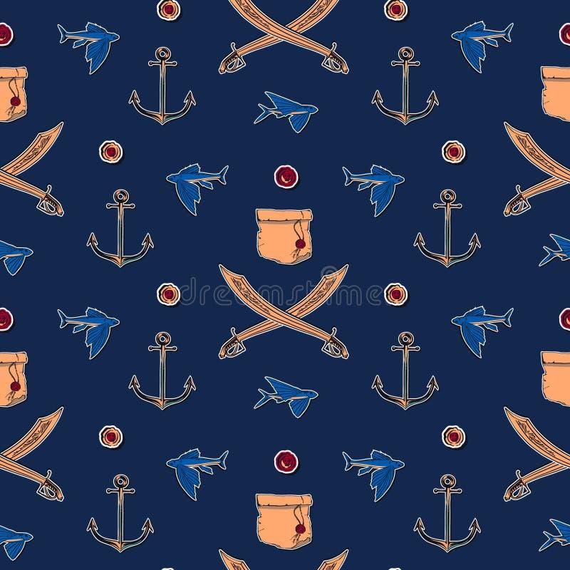 手拉的葡萄酒海盗无缝的样式传染媒介例证 古色古香的纸纸卷、剑、飞鱼和不尽船锚的剪影 向量例证