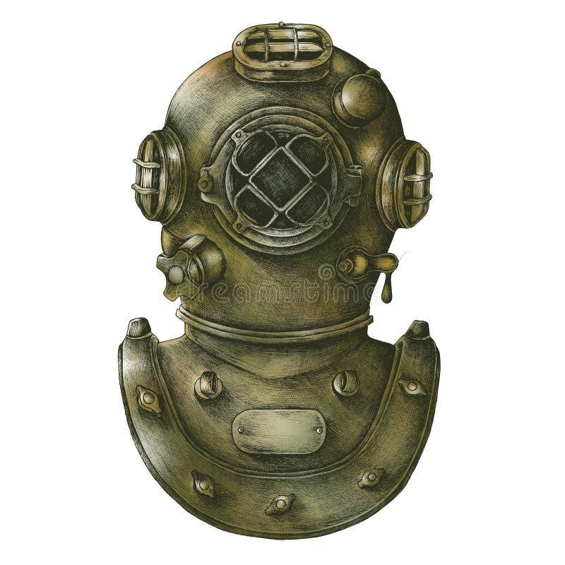 手拉的葡萄酒潜水盔甲 库存例证