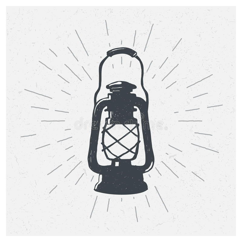 手拉的葡萄酒煤油灯 剪影油灯笼 也corel凹道例证向量 T恤杉印刷品 海报 皇族释放例证