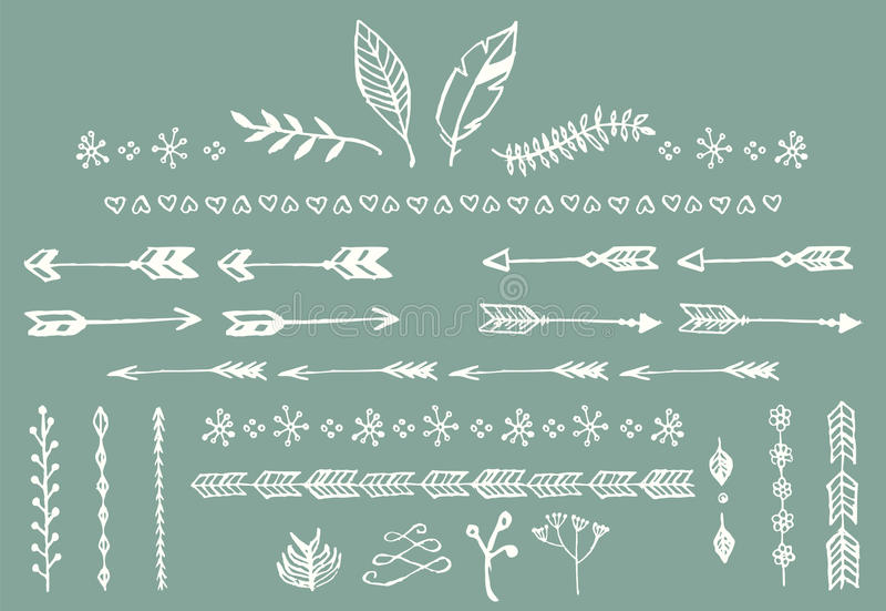 手拉的葡萄酒箭头、羽毛、分切器和花卉元素 皇族释放例证