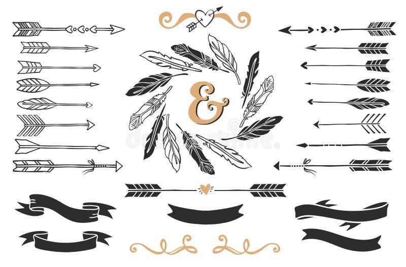 手拉的葡萄酒箭头、羽毛和丝带与字法 向量例证