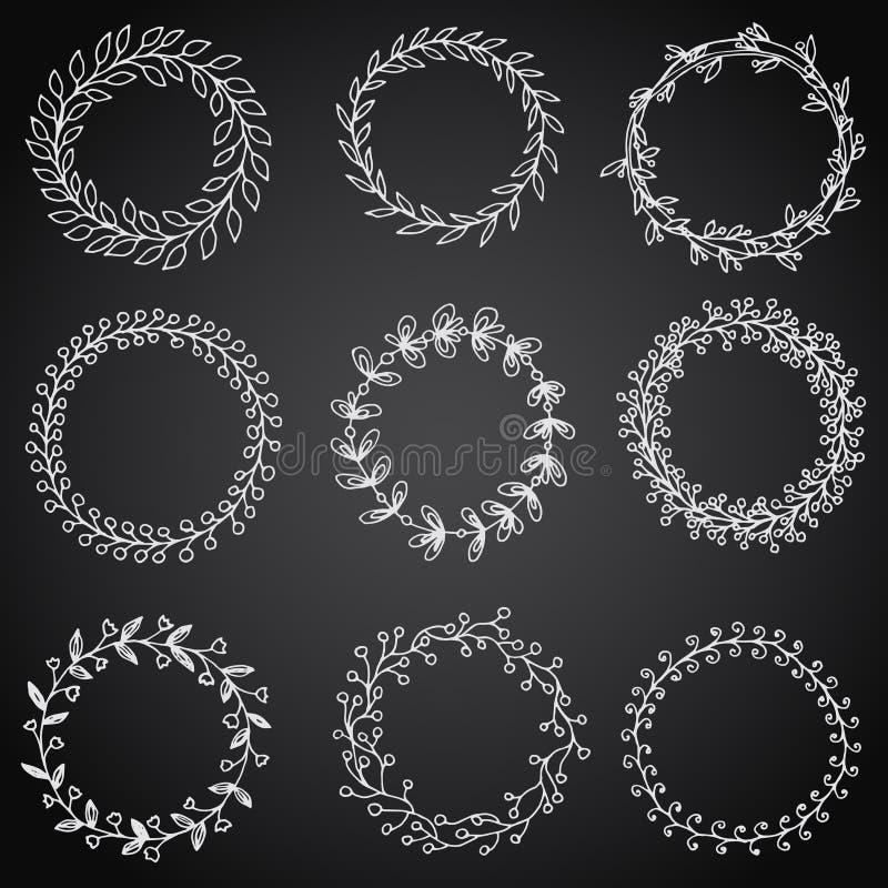 手拉的葡萄酒花卉花圈集合和设计元素 库存例证