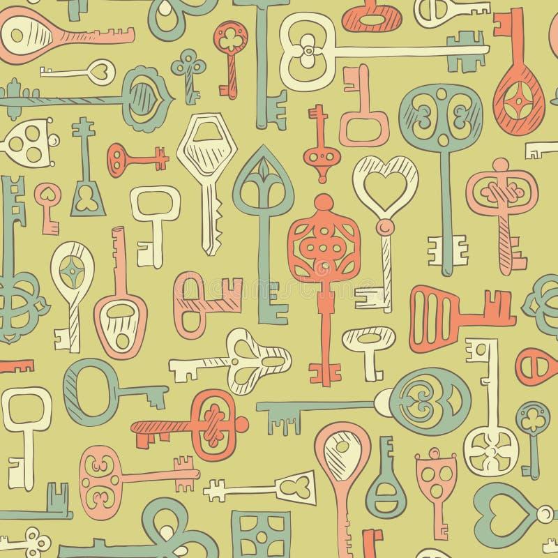 手拉的葡萄酒钥匙的无缝的样式 库存例证