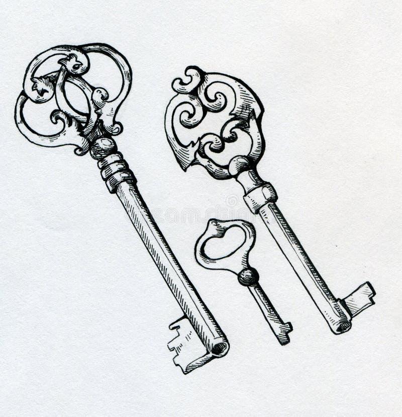 手拉的葡萄酒钥匙 向量例证
