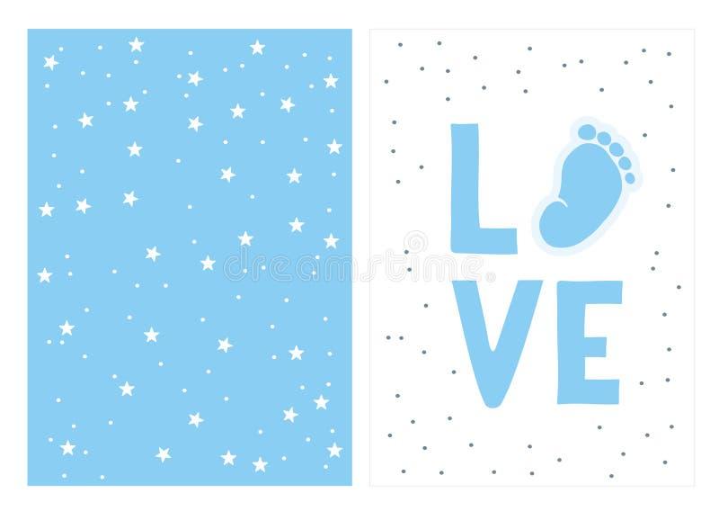 手拉的蓝色婴儿阵雨传染媒介例证集合 库存例证