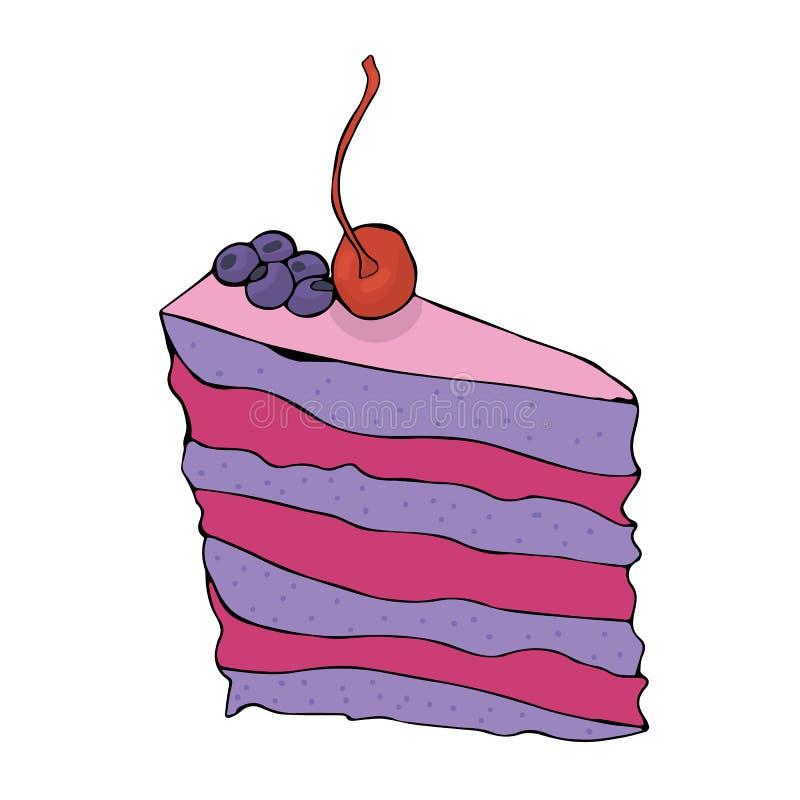 手拉的蓝莓蛋糕片断用樱桃 库存例证
