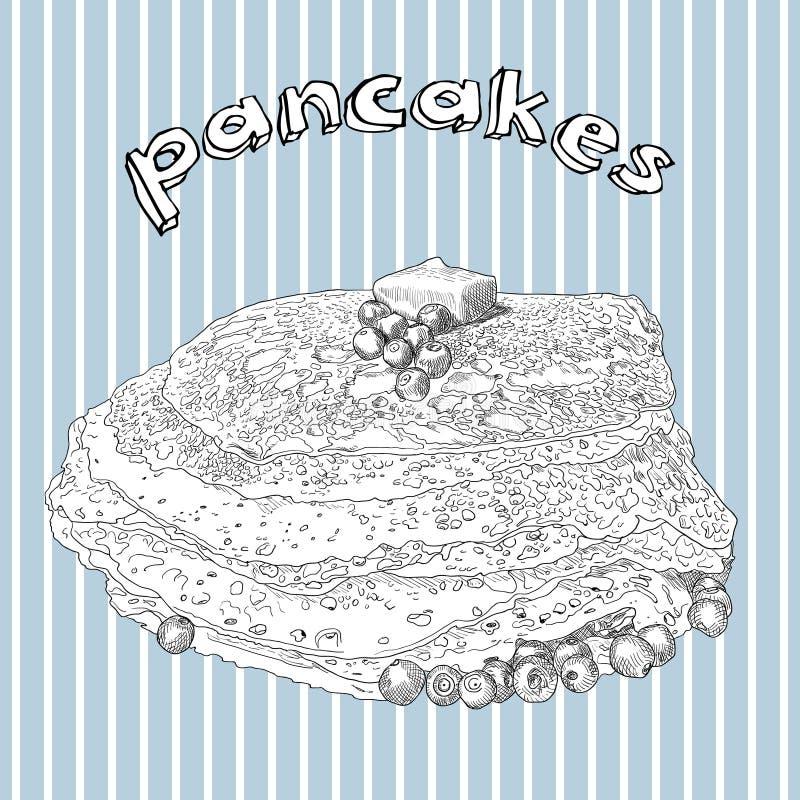 手拉的薄煎饼用黄油和蓝莓 库存例证