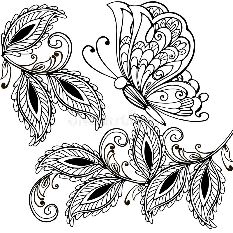 手拉的蝴蝶和装饰叶子成人反重音着色页, T恤杉印刷品 Boho,无刺指甲花纹身花刺设计 库存例证