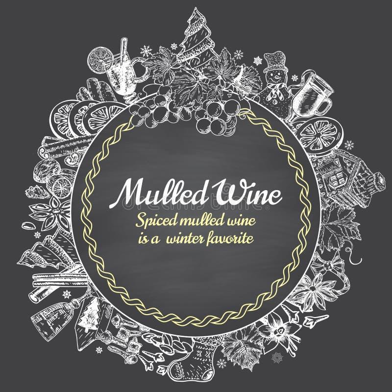 手拉的被仔细考虑的酒传染媒介圆的横幅 黑白剪影海报 菜单商标和象征设计模板 向量例证