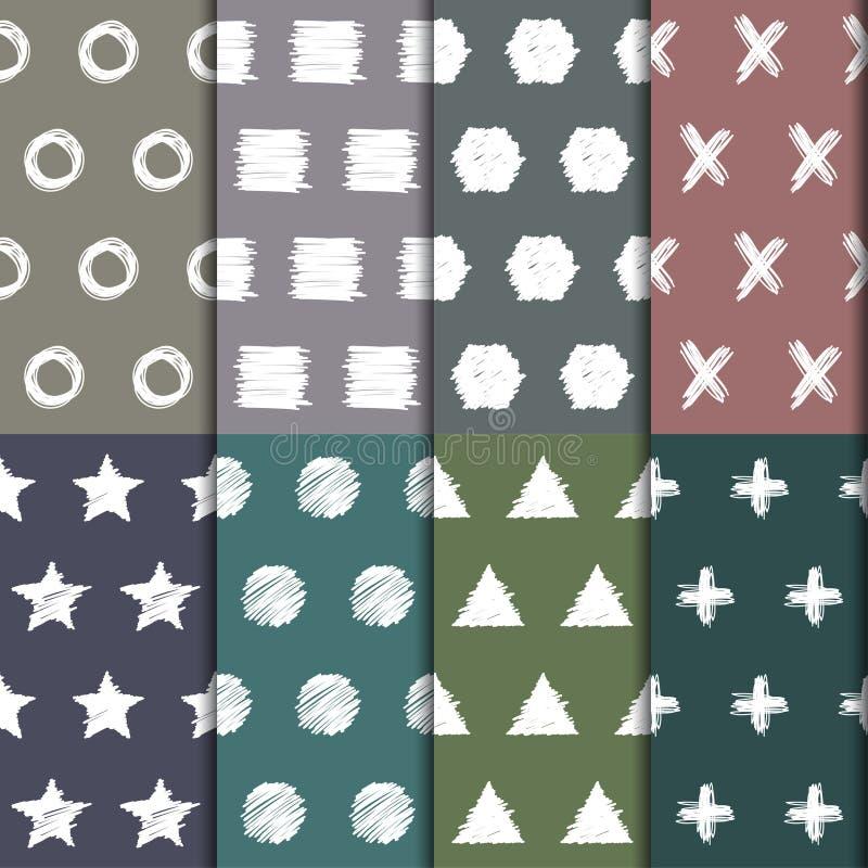 手拉的被设置的乱画无缝的样式 抽象几何形状手工制造背景收藏 皇族释放例证