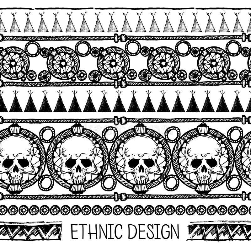 Download 手拉的被绘的无缝的样式 黑白颜色 套与头骨的墨水种族条纹 墨水集合 向量例证 - 插画 包括有 冷静, 设计: 72361647