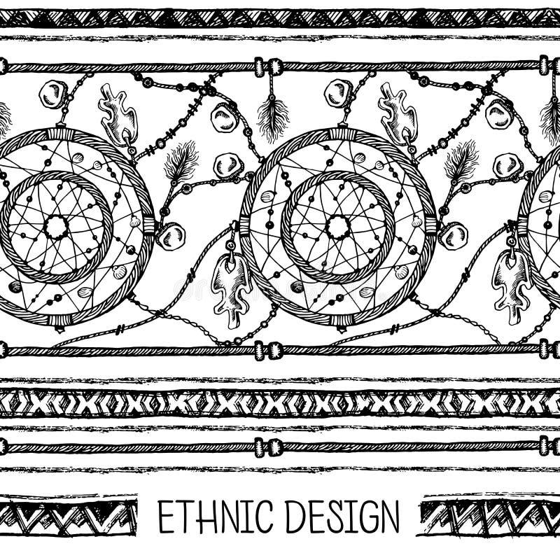 Download 手拉的被绘的无缝的样式 黑白颜色 套墨水种族条纹和梦想俘获器 向量例证 - 插画 包括有 现代, 现有量: 72360081