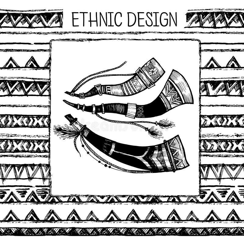 Download 手拉的被绘的无缝的样式 部族种族无缝 黑色墨水和白色猎号 也corel凹道例证向量 向量例证 - 插画 包括有 详细资料, 狩猎: 72360579