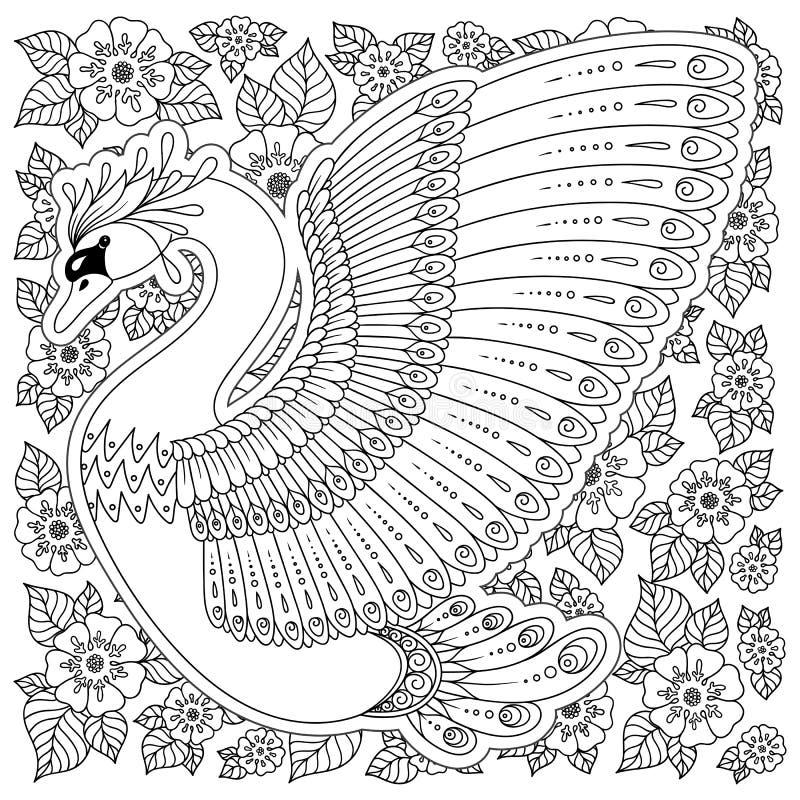手拉的装饰的天鹅 成人彩图的图象,页 向量例证
