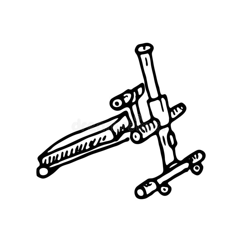 手拉的训练用具乱画 剪影的运动器材 库存例证