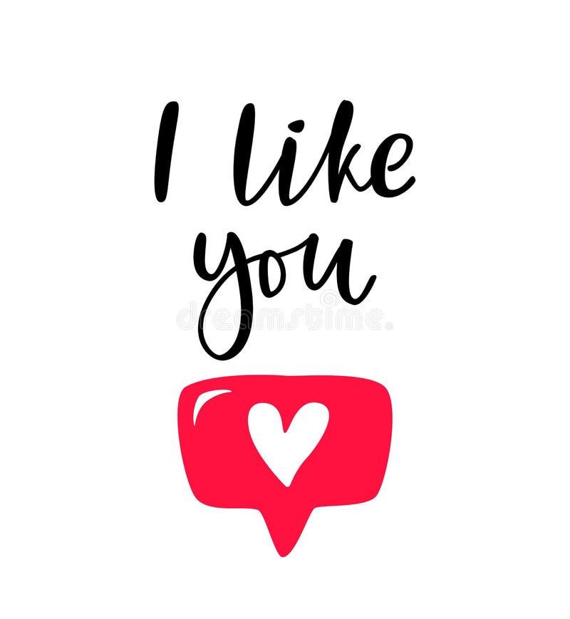 手拉的词组我喜欢您有社会媒介的心脏按钮的,博克,vlog,网,横幅,卡片,印刷品 在上写字象 库存例证