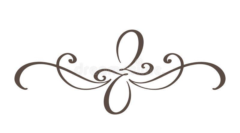 手拉的边界华丽分离器书法设计师元素 传染媒介在白色隔绝的葡萄酒例证 向量例证
