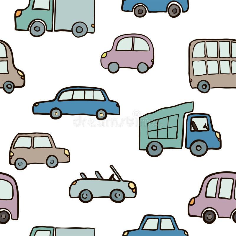 手拉的逗人喜爱的动画片汽车的无缝的样式孩子的设计 导航包裹的例证,包裹,海报,网络设计,孩子 皇族释放例证