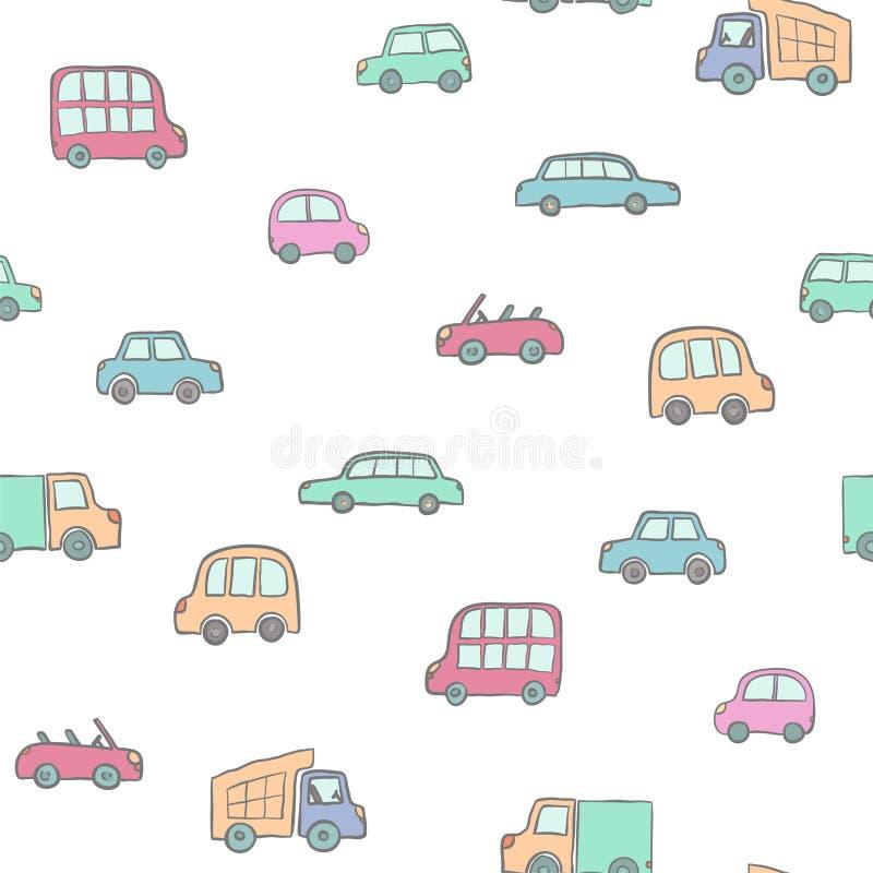 手拉的逗人喜爱的动画片汽车的无缝的样式孩子的设计 导航包裹的例证,包裹,海报,网络设计,孩子 向量例证
