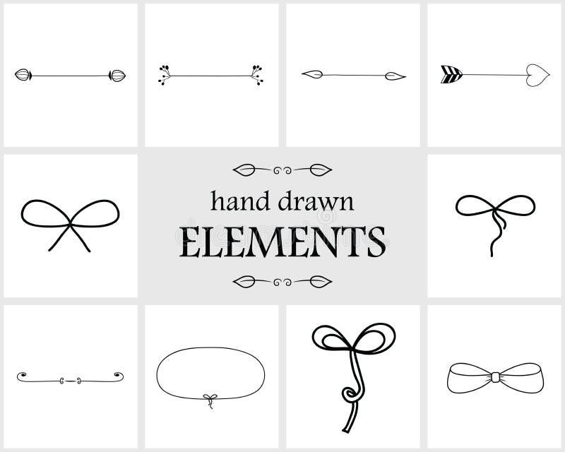 手拉的逗人喜爱的边界分切器箭头和弓 向量例证