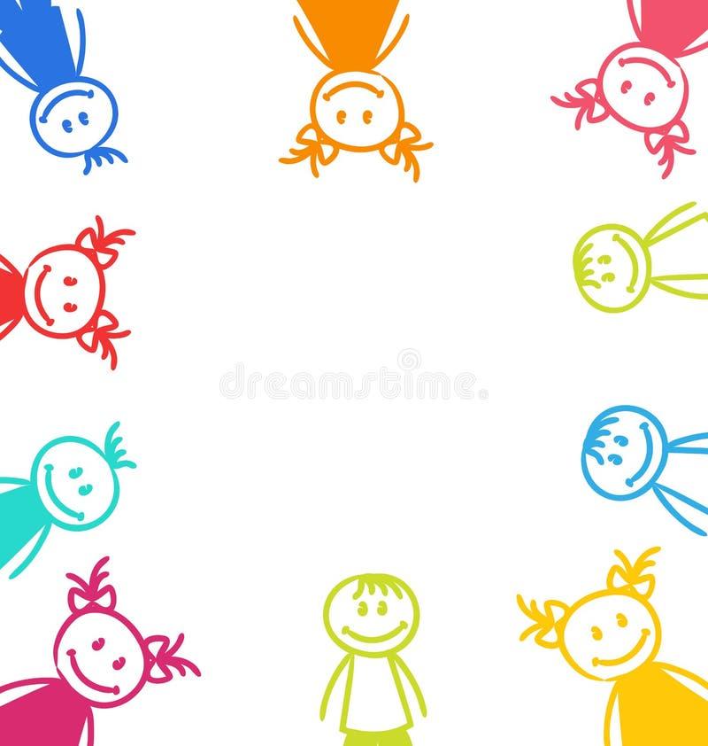 手拉的逗人喜爱的滑稽的孩子、五颜六色的女孩和男孩 向量例证