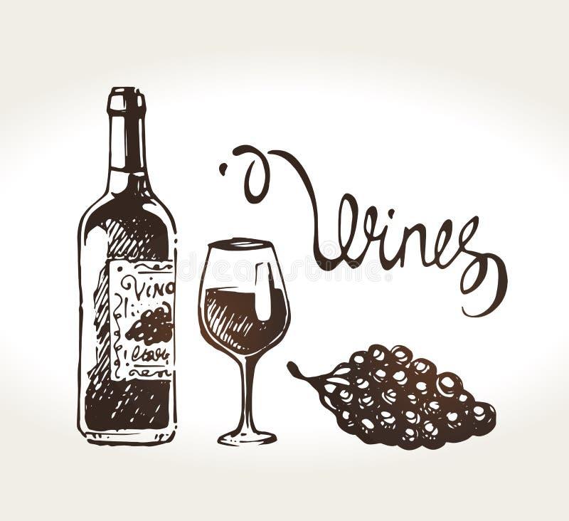 手拉的酒瓶、玻璃和葡萄 向量 皇族释放例证